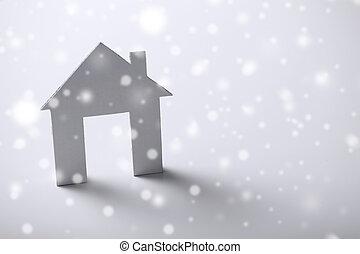 casa, blanco, papel, encima, plano de fondo