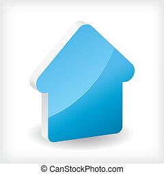 casa blu, 3d, icona