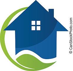 casa blu, e, foglia, logotipo, vettore