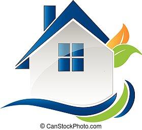 casa blu, logotipo, mette foglie, onde