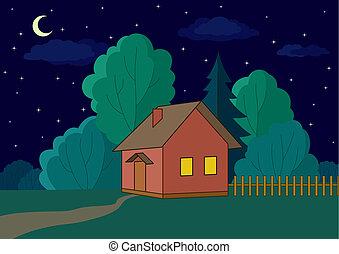 casa, borde, bosque, noche