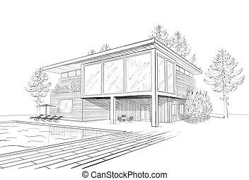 casa, bosquejo, vector, moderno