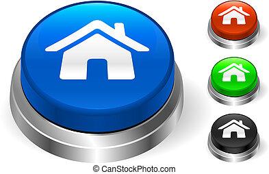 casa, botón, icono, internet