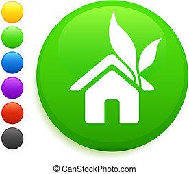 casa, botón, icono, redondo, internet
