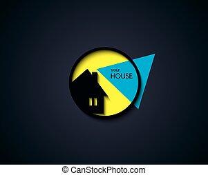 casa, botón, ilustración, vector, redondo, icono