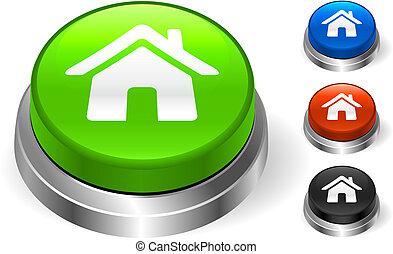 casa, bottone, icona, internet