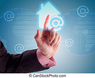 casa, bottone, internet