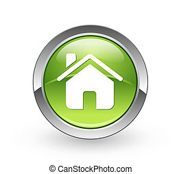 casa, bottone, -, sfera verde