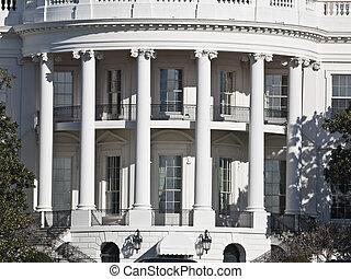 casa, branca, c.c. washington, portico