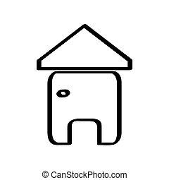 casa, branca, isolado, fundo, ícone