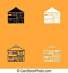 casa, branca, jogo, pretas, icon.