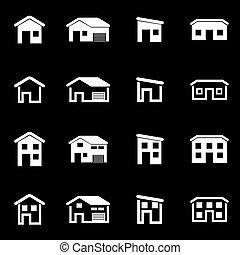 casa, branca, vetorial, jogo, ícone