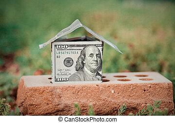 casa, brick., dinheiro