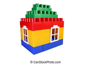 casa, brinquedo, construção