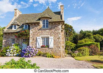 casa, brittany, francês, típico