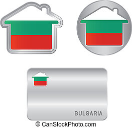 casa, bulgaro, bandiera, icona