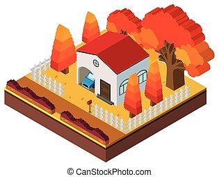 casa, cadere, disegno, 3d, stagione