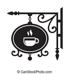 casa, café, antiga, signboard, rua