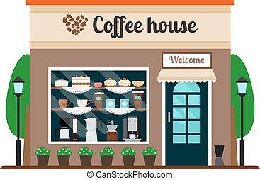 casa café, armazenar parte dianteira