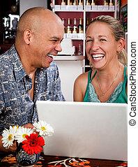 casa, caffè, computer, coppia, laptop