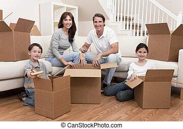 casa, caixas, em movimento, família, desembrulhar