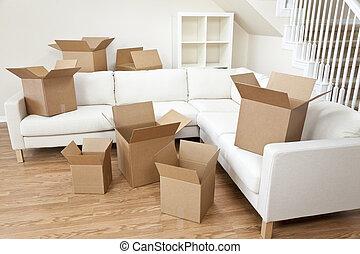 casa, caixas, papelão, em movimento, sala