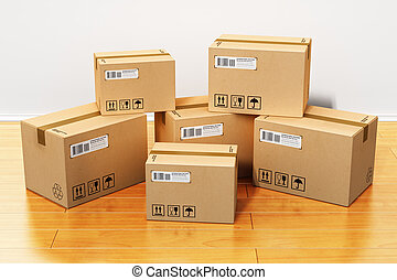 casa, Cajas, cartón, nuevo