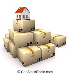 casa, cajas, mudanza