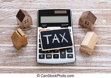 casa, calculadora, imposto, modelo, sinal