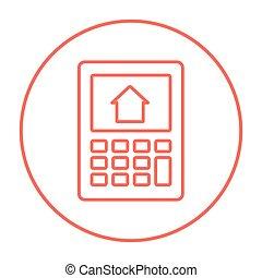 casa, calculadora, línea, icon., exhibición