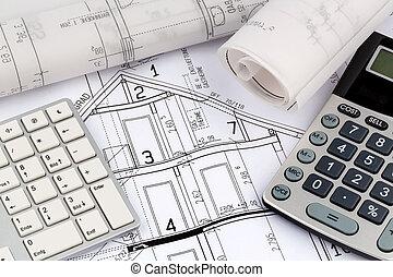 casa, calculadora, plan