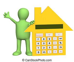 casa, calculadora, títere, forma, 3d