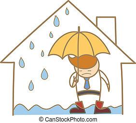 casa, carácter, techo, escape, caricatura, hombre