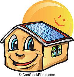 casa, caricatura, com, sol