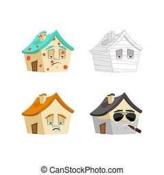 casa, caricatura, estilo, conjunto, 1., hogar, enfermo, y, sad., vendado, y, brutal., edificio, colección, de, situaciones