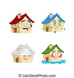 casa, caricatura, estilo, conjunto, 2., hogar, enfermo, y, infected., vendado, y, flooded., edificio, colección, de, situaciones