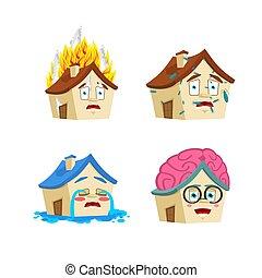 casa, caricatura, estilo, conjunto, 3., hogar, elegante, y, infected., fuego, y, flooded., edificio, colección, de, situaciones