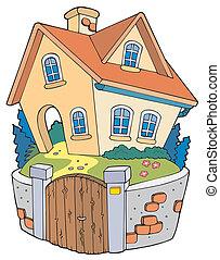 casa, caricatura, família