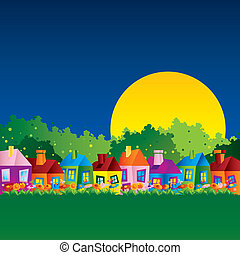 casa, caricatura, fondo