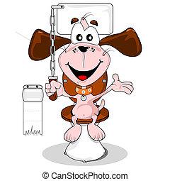 casa, caricatura, perro entrenado