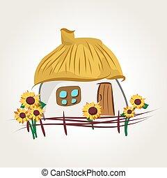 casa, caricatura, ucranio
