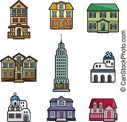 casa, cartone animato, icona