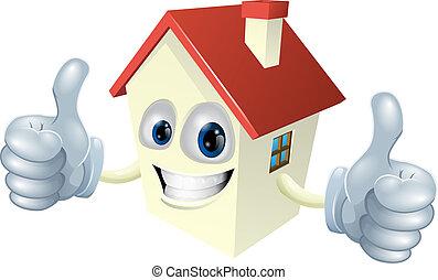 casa, cartone animato, mascotte