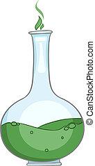 casa, cartone animato, vaso