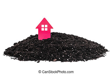 casa, cartone, mucchio, land.