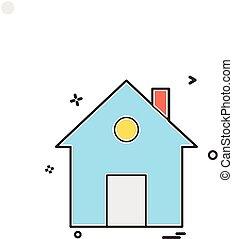 casa casa, appartamento, icona, vettore, disegno