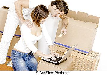 casa casa, coppia, credito, acquisto, internet, nuovo, o, scheda, primo