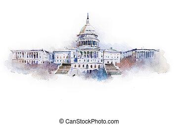 casa, c.c. washington, aquarela, branca, desenho