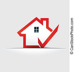 casa, cheque, logotipo, elemento, desenho
