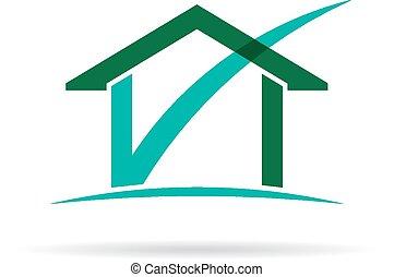 casa, cheque, logotipo